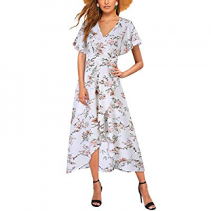 GloryStar Women's Floral Print Boho Chiffon Maxi Wrap Split Flowy High Low Beach Party Dress now 3..