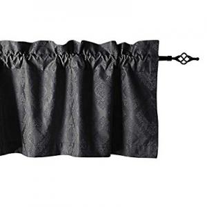 Valea Home Valances for Windows Rod Pocket Valance Curtain for Baseroom Bedroom, 5619 inches,Black..