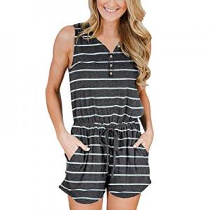 YIBOCK Women Summer Sleeveless Button Down Striped Short Jumpsuit Cami Romper now 20.0% off