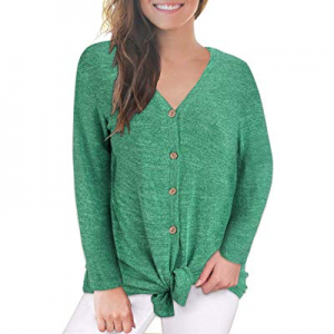 VOTEPRETTY Women's V-Neck Long Sleeves Button Down Tie Front Knot Casual Loose Shirt Tops now 70.0..