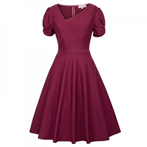 Women's V-Neck Short Sleeve Vintage A-Line Party Swing Dress now 50.0% off