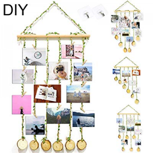 ZALALOVA Hanging Photo Display now 45.0% off , DIY Pictures Organizer with 25Pcs Wooden Clips 2 Ho..