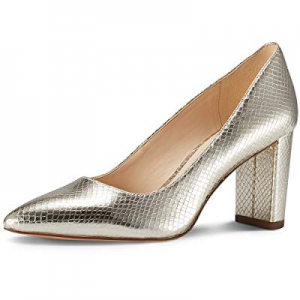 JENN ARDOR Chunky Thick Block Heel Pumps Pointed Closed Toe Office Dress Lady High Heel Shoes now ..