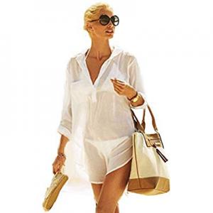 One Day Only!Locryz Women's Swimsuit Beach Cover Up Shirt Bikini Beachwear Bathing Suit Beach Dres..