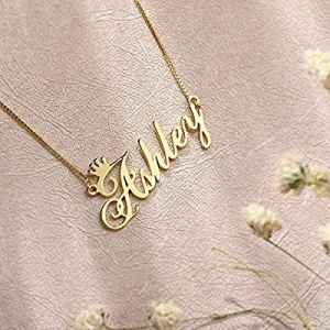 One Day Only!80.0% off ButUnique Name Necklace Personalized with Crown Sterling Silver Custom Made..