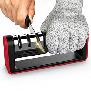 One Day Only!Upgraded Kitchen Knife Sharpener now 10.0% off , Ulwae 3-Stage Chef Knife Sharpener t..
