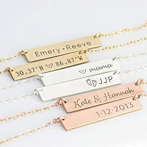 One Day Only!ButUnique Personalized Bar Necklace Custom Engraved Horizontal Nameplate Customized B..