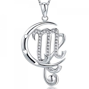 One Day Only!Christmas Day Gifts Moon Horoscope Signs of Zodiac Pendant Necklace with Cubic Zircon..