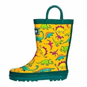 One Day Only!hibigo Children's Natural Rubber Rain Boots with Handles Easy for Little Kids & Toddl..