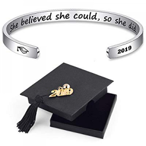 One Day Only!IEFSHINY 2019 Graduation Gift Cuff Bracelet - Inspirational Quote Mantra Stainless St..