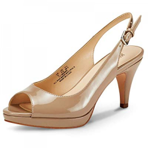 One Day Only!25.0% off JENN ARDOR Women's Slingback Pumps Stiletto High Heels Ladies Peep Toe Sand..