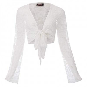 Women Steampunk Long Sleeve Hooded Floral Lace Shrug Tie Front Bolero Cardigan now 70.0% off