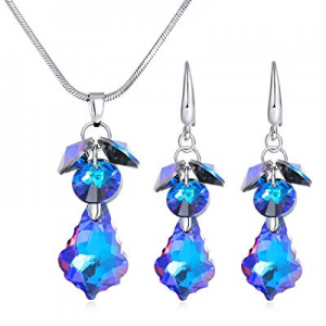 78.0% off Crystal Earrings and Necklace Set Dangle Earrings Pendant Necklace Best Women Lady Jewel..