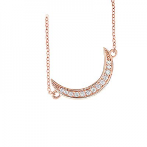 70.0% off QUINBY 14K Rose Gold Plated Crescent Moon Simple Delicate Choker Necklace 5A Cubic Zirco..