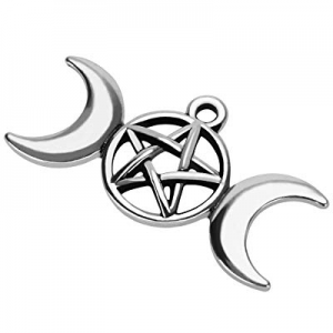 20Pcs Triple Moon Goddess Pentacle Pendant Charms DIY for Jewelry Making and Crafting Necklace (20..