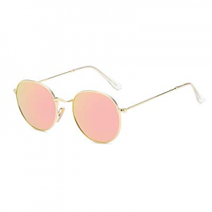 AMOMOMA Classic Aviator Mirrored Vintage Sunglasses for Women Men with Spring Hinges now 70.0% off