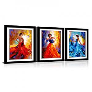 40.0% off CANVASZON Framed Wall Art Flying Skirt Abstract Dancing People Framed Red Girl Dancer Ar..