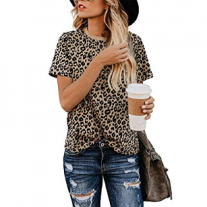 Women's Casual Cute Shirts Leopard Print Tops Basic Short Sleeve Soft Blouse now 10.0% off