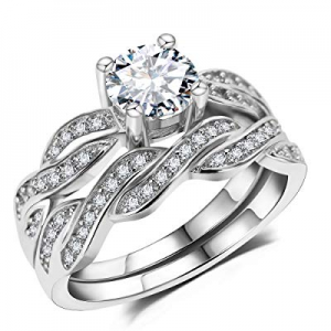 65.0% off 3UMeter Sterling Silver Bridal Ring Set - Infinity Engagement Women Rings 2 Pieces Princ..