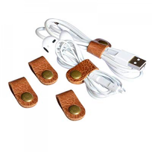 One Day Only!CAILLU cord headphone organizer earbud case earphone headset wrap winder handmade Lea..