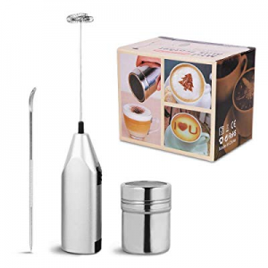 One Day Only!Crenova Milk Frother Set: Milk Frother now 50.0% off , 16 Coffee Art Stencils, Cinnam..