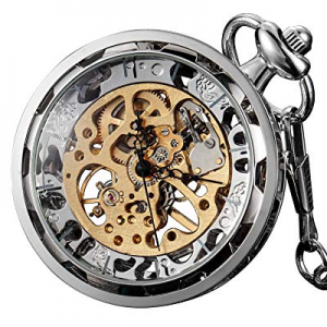 One Day Only!VIGOROSO Mens Classic Steampunk Pocket Watch Gold Skeleton Hand Wind Mechanical Watch..