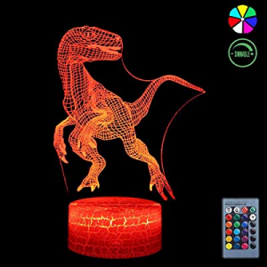 3D Night Light now 50.0% off , 7 Colors Changing Smart Switch Remote Control USB & Battery Powered..