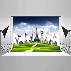 52.0% off EARVO 7x5ft Global Travel Backdrop Blue Sky Nation Flags Photography Background Travel T..