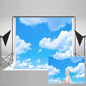 50.0% off Baby Shower Background EARVO 7x5ft Blue Sky White Clouds Photography Background Photo Po..