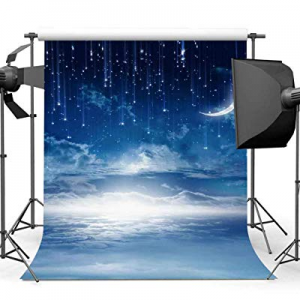 53.0% off EARVO Night Starry Sky 5x7ft Crescent Moon Fairytale Starry Sky Photography Background L..