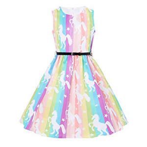 One Day Only!15.0% off uideazone Girl's Sleeveless Vintage Dress 50s Retro Swing Cocktail Rockabil..