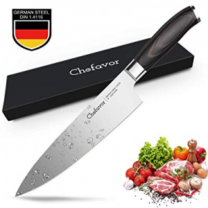 8 in Chef's Knife - Chefavor Professional Chefs Knife German High Carbon Stainless Steel Kitchen K..