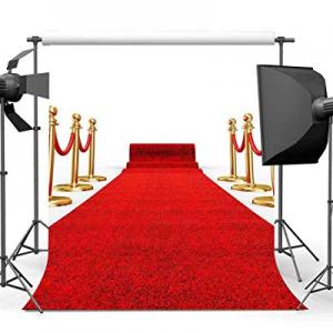 51.0% off 5x7ft Red Carpet Background Photography Backdrop EARVO Wedding Photo Portrait Cotton Bac..