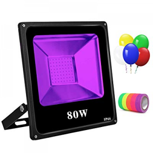 65.0% off Black Light 80W Led Blacklight with 5 Led Balloons UV Flood Light IP66 Waterproof Ultrav..