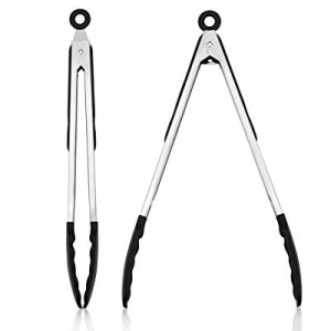 DoKee Functional Serving Tongs Utensils, 2-Pack Kitchen Tongs BPA Free for Home Cooking and Frying..