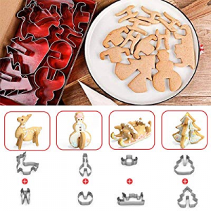 70.0% off Cookie Cutter 8 pc Set - Premium Quality Stainless Steel–Animal Plant Classic Shape Cutt..