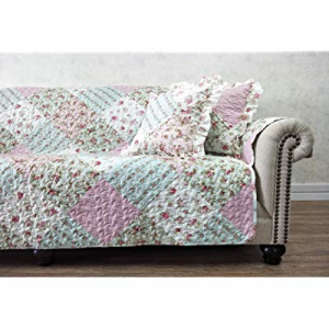 One Day Only!Brilliant Sunshine Patchwork Ruffle Pillow Cushion Covers Rose Floral Print Quilted S..