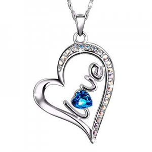 SIVERY Forever Love Women Necklace Pendant with Swarovski Crystal, Jewelry for Women Gifts for Mom..