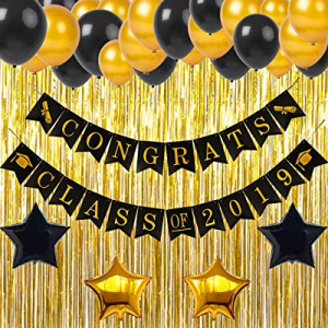 60.0% off Graduation Party Supplies 2019 Decorations Congrats Class of 2019 Banner Black and Gold ..