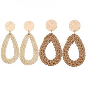 40.0% off UEUC Woven Rattan Earrings Bohemian Handmade Straw Wicker Braid Drop Earrings Disc Light..