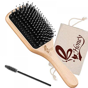 Hair Brush-Natural Boar Bristle Hair Brush With Detangling Pins now 60.0% off , Best Paddle Brush ..