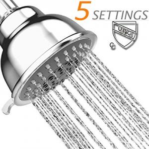 45.0% off Fixed Showerheads High Pressure -4 inch Anti-leak Anti-clog 5 Spray Settings Chrome Show..