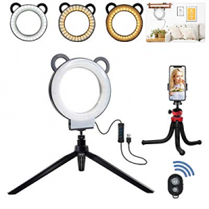 "MOUNTDOG 6"" Selfie Ring Light with Tripod Stand Cell Phone Holder for Live Stream/Makeup/YouTube n.."
