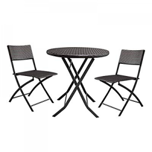 20.0% off Lovinland Patio Furniture 3 Piece Rattan Outdoor Furniture Folding Table and Chair Conve..