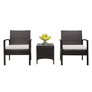20.0% off Lovinland Patio Furniture 3 Piece Rattan Outdoor Furniture Table Sofa Conversation Set w..