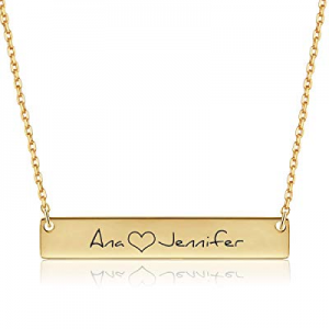 Yoke Style Personalized Bar Name Necklace with Birthstone now 70.0% off , 18K Gold Plated Custom L..