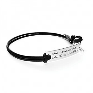 "One Day Only!80.0% off Luvalti Inspirational Leather Bracelet 10'' - ""She Believed she Could so sh.."