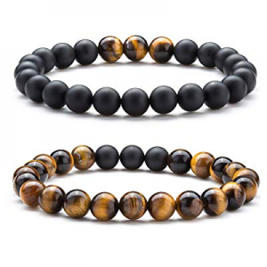 One Day Only!50.0% off Hamoery Men Women 8mm Tiger Eye Stone Beads Bracelet Elastic Natural Stone ..