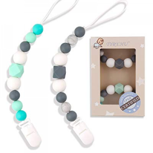 TYRY.HU Pacifier Clips Silicone Teething Beads BPA Free Binky Holder for Girls now 50.0% off , Boy..