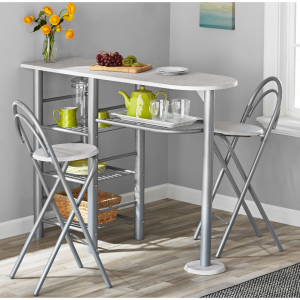 Mainstays 3-Piece Brooklyn Counter Height Dining Set, 3 colors @Walmart